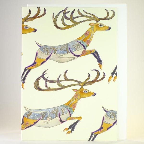 'Leaping Reindeer' Blank Greetings Card.