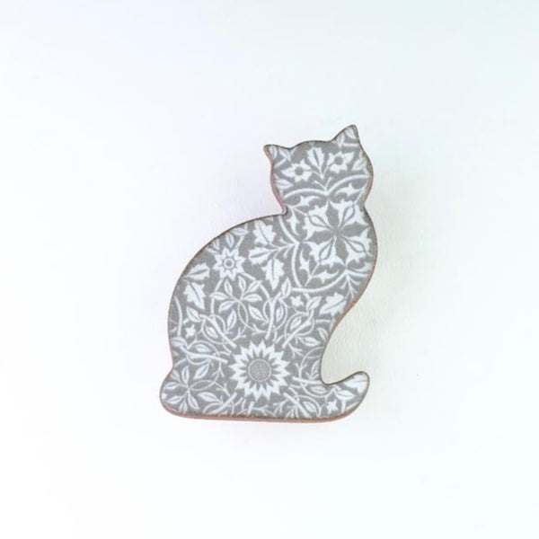 Handmade Ceramic Grey Cat Brooch.