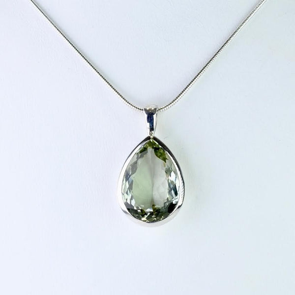 Larger Silver and Green Amethyst Pendant.