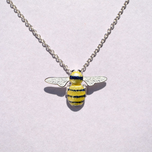 Silver and Enamel Bumble Bee Pendant by Nicole Barr.