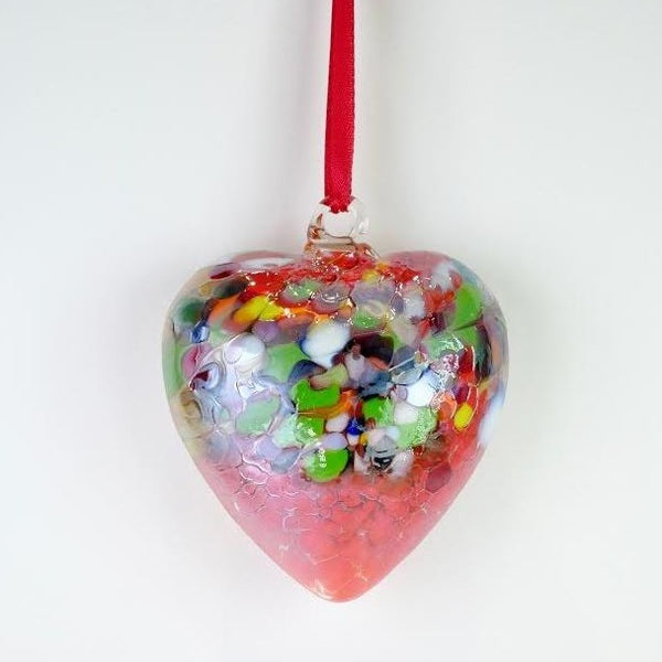 Glass Friendship Heart - Red and Green