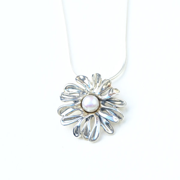 Silver Flower Pendant with Pearl.