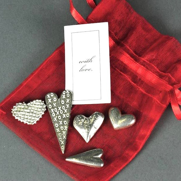 Bagged Pewter Tokens 'Love Hearts'
