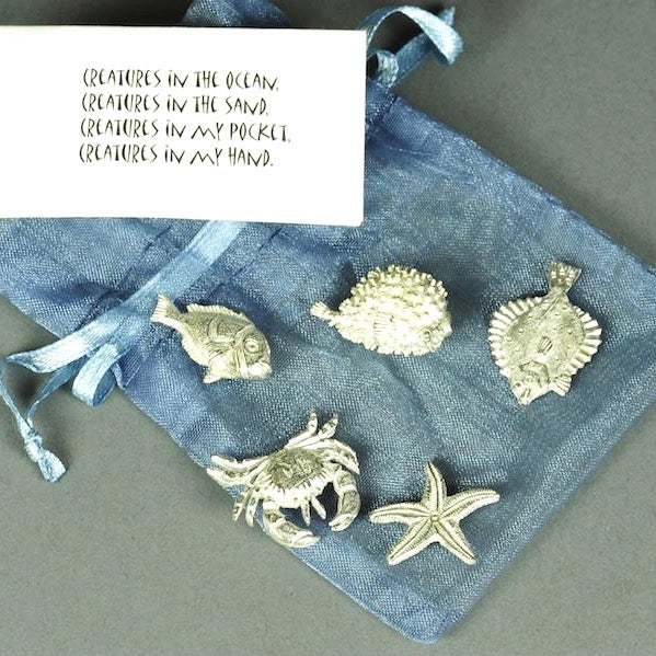 Bagged Pewter Tokens 'Sea Creatures'