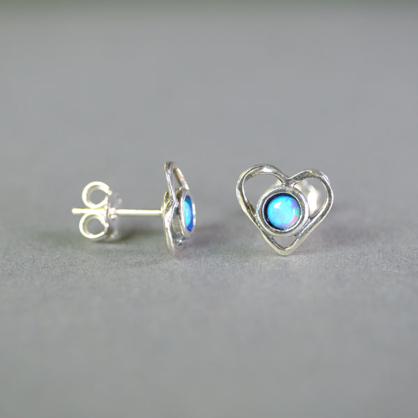 Opal and Silver Heart Stud Earrings