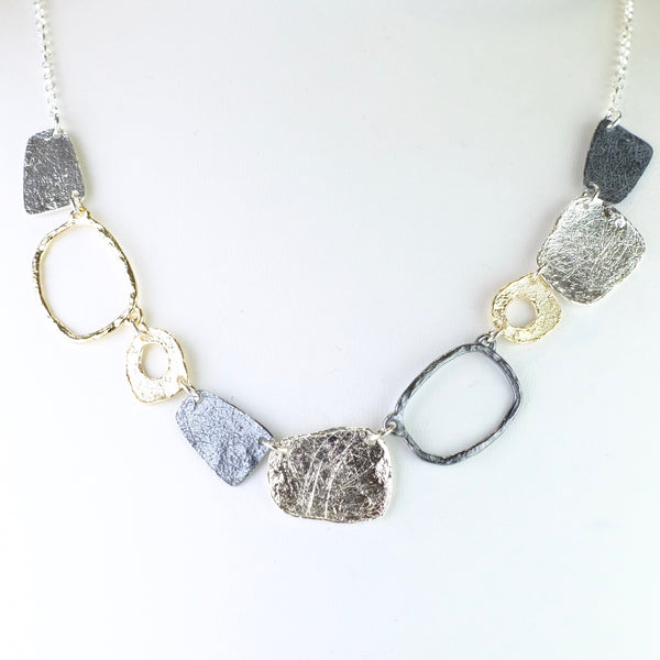 Textured Silver and Gold Plated Linked Necklace by JB Designs.