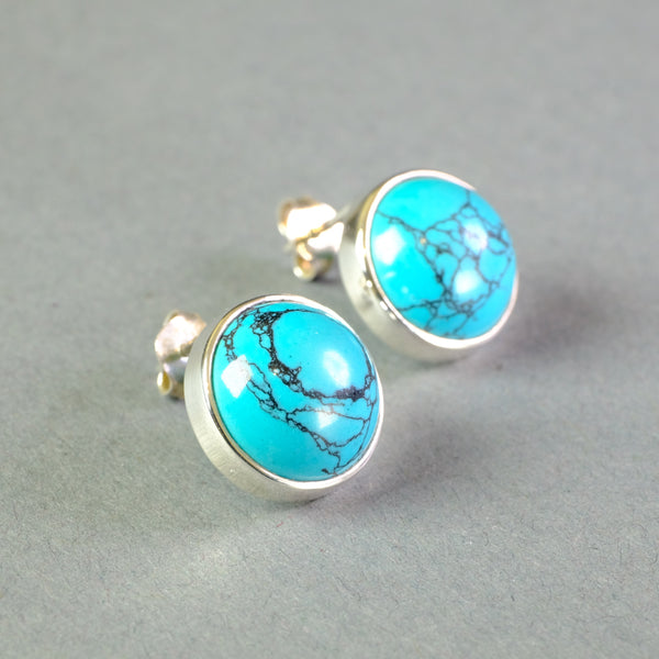 Turquoise and Silver Stud Earrings.
