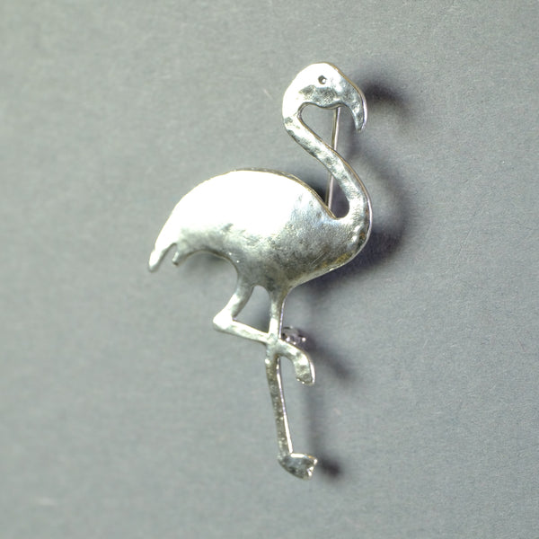 Silver Flamingo Brooch.