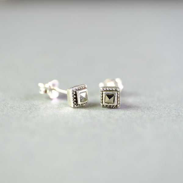 Marcasite and Silver Cube Stud Earrings.