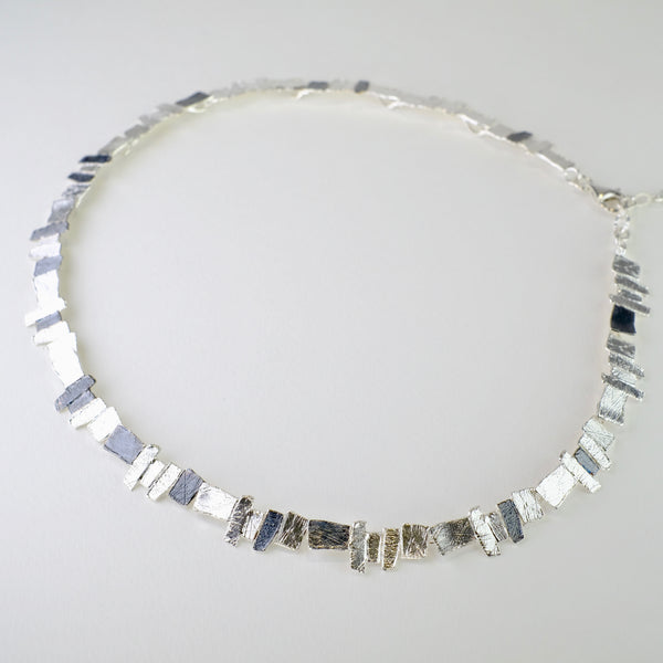 Satin and Oxidised Silver Linked Necklace by JB Designs.
