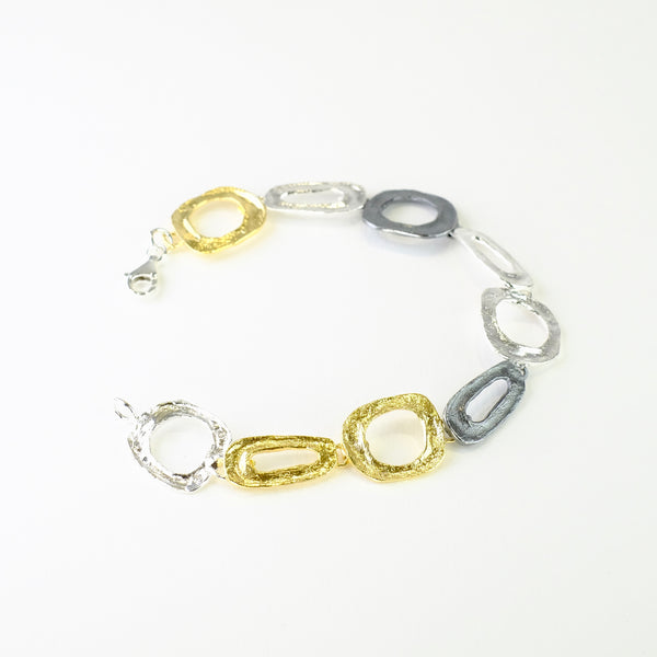 Satin Silver and Gold Plated Linked Bracelet by JB Designs.