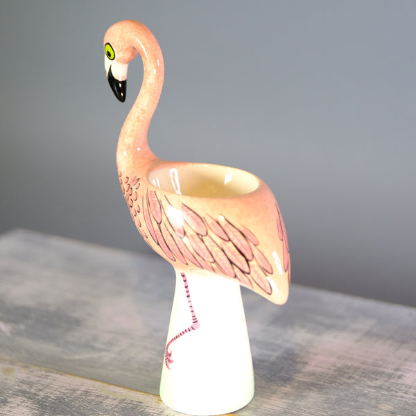 Ceramic Flamingo Egg Cup by Hannah Turner.