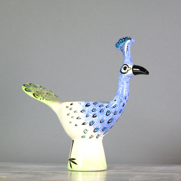 Ceramic Peacock Egg Cup by Hannah Turner.