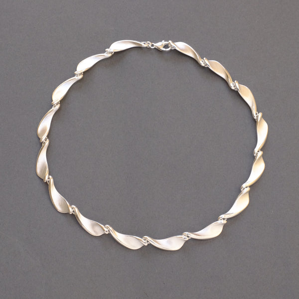 Satin Silver Linked Necklace by LBJ Designs.