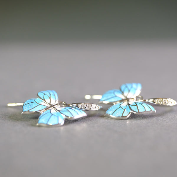 Silver, Blue Enamel and Diamond Butterfly Drop Earrings.