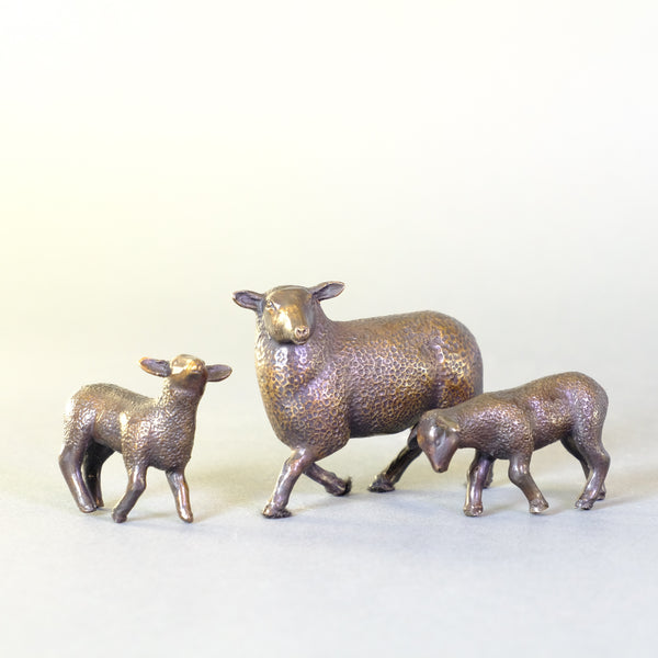 Bronze Mother Sheep with Twins by Steve Boss