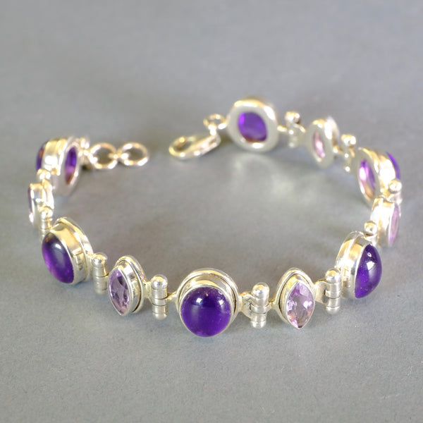 Silver and Amethyst Stone Set Bracelet.