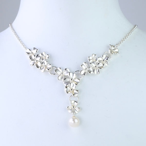 Silver 'Forget me not' Necklace with Pearl Drop.