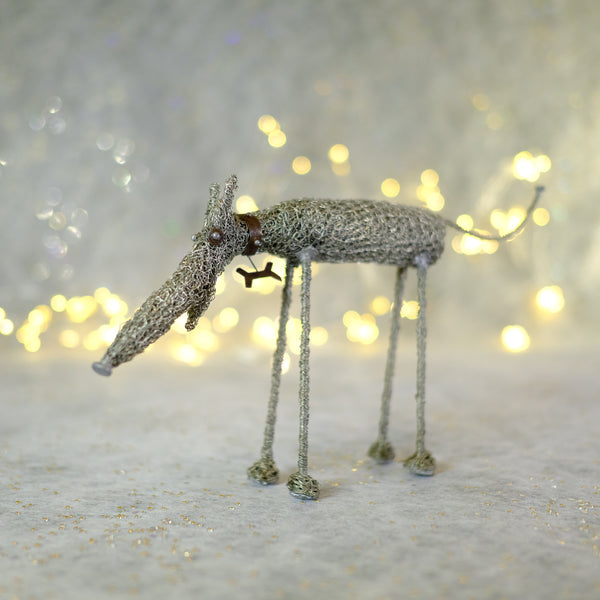 Knitted Wire Dog by Sarah Jane Brown.