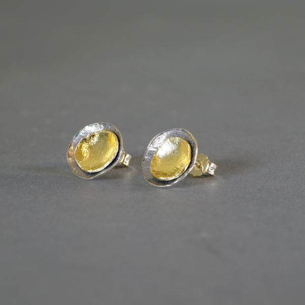 Satin Silver Stud Earrings by LBJ Designs.