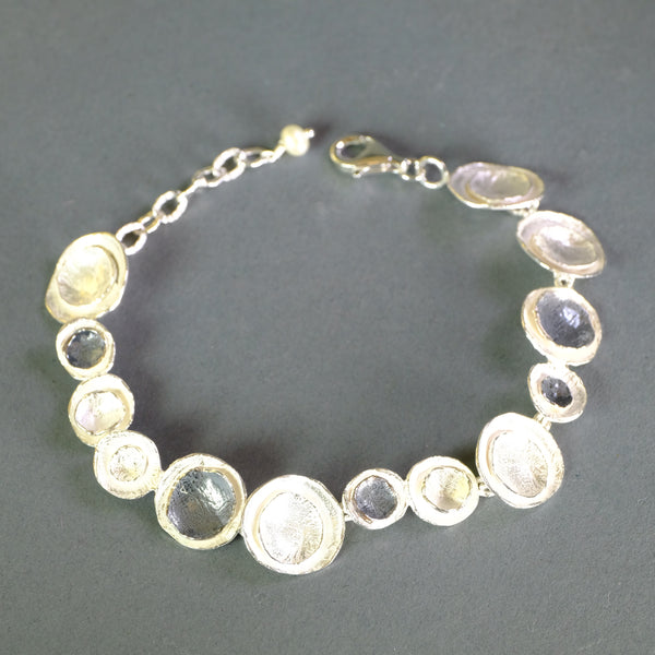Satin Silver Linked Bracelet by LBJ Designs.