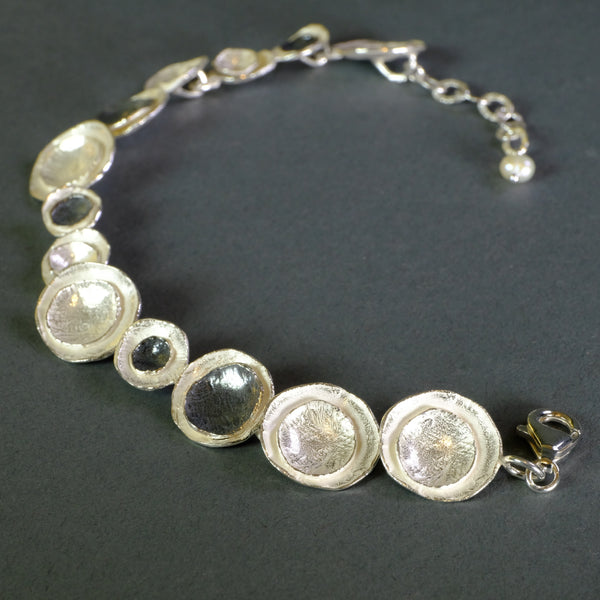 Satin Silver Linked Bracelet by JB Designs.