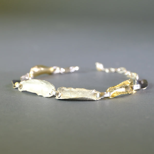 Satin Silver and Gold Plated Linked Bracelet by LBJ Designs.
