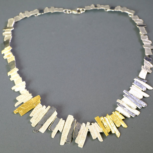 Satin Silver and Gold Plated Linked Necklace by LBJ Designs.