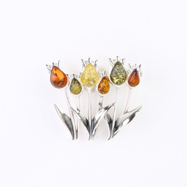 Amber Tulip Design Brooch.