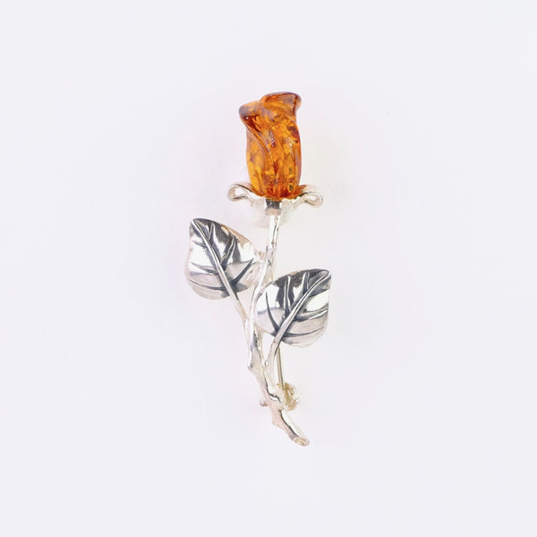 Silver and Amber Rosebud Design Brooch.