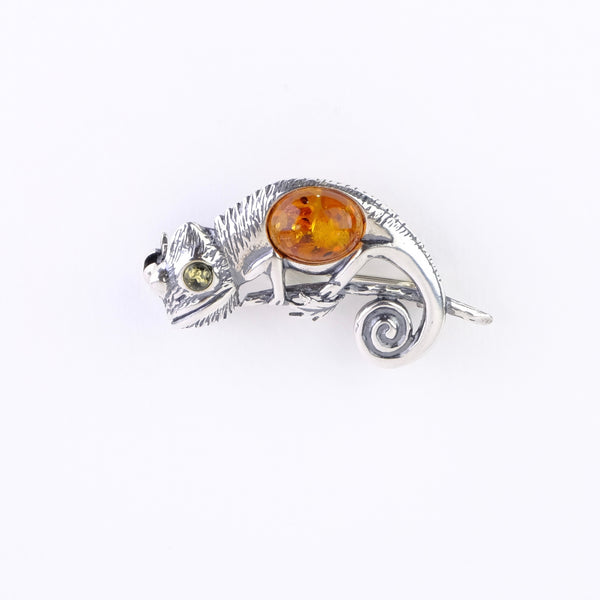 Silver and Amber Chameleon Design Brooch.*