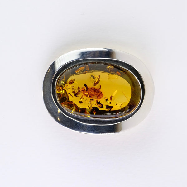 Amber and Silver Brooch.