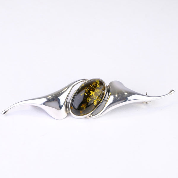 Silver and Green Amber Brooch.