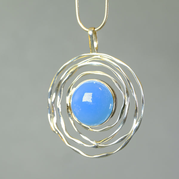 Silver Swirl and Chalcedony Pendant.