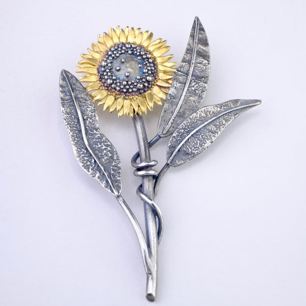 Silver Handmade Large Sunflower Brooch by Sheena McMaster.