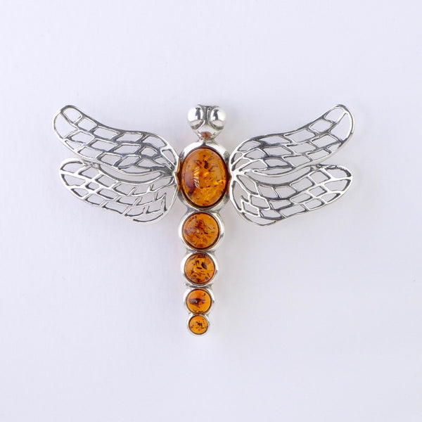 Silver and Amber Dragonfly Design Brooch.