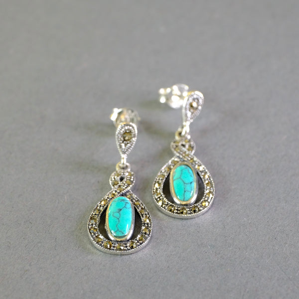 Silver and Marcasite and Turquoise Drop Earrings.