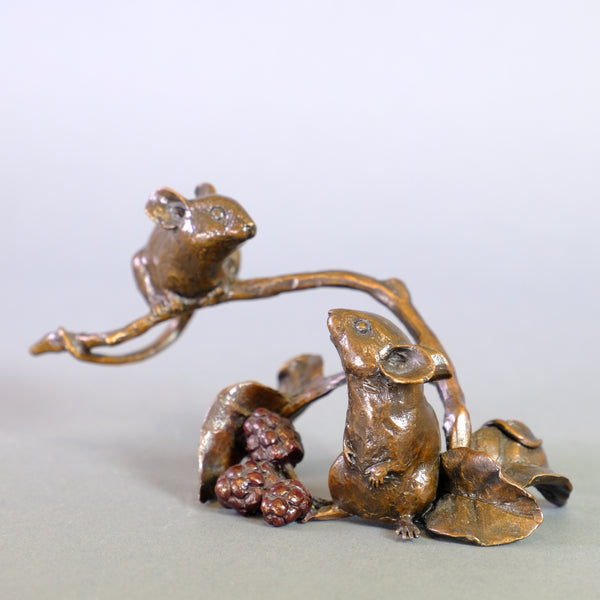 Bronze 'Mice with Berries' by Michael Simpson