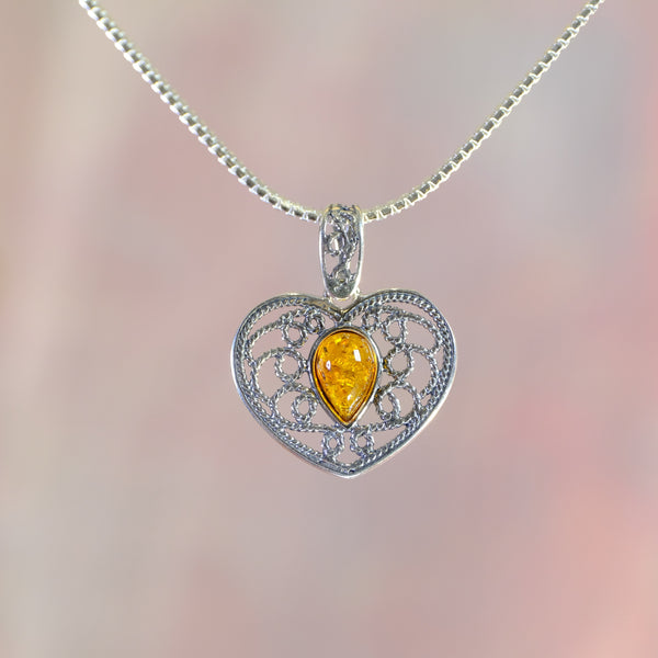 Amber and Silver Heart Pendant.