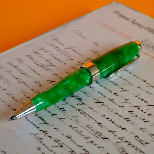 Small Resin Green Ballpoint Pen.