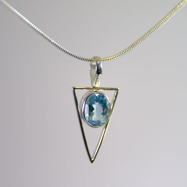 Silver and Blue Topaz Pendant.
