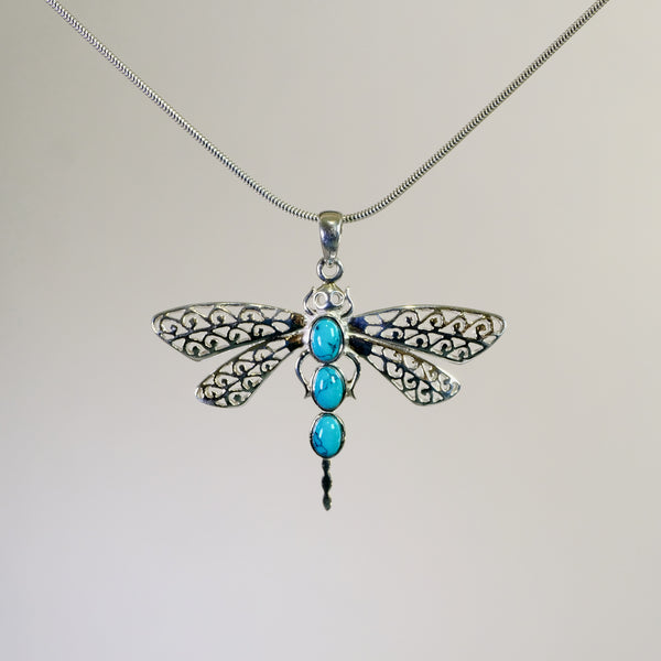 Silver and Turquoise  Dragonfly Pendant.