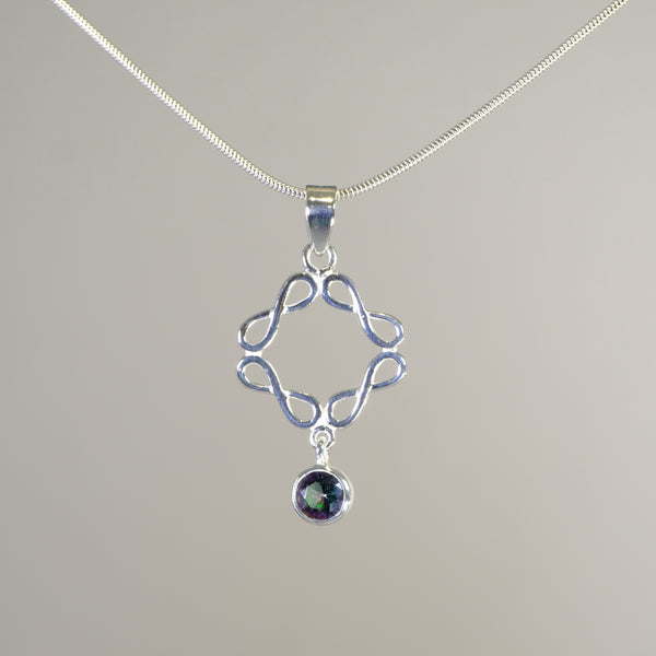 Silver and Mystic Quartz Stone Set Pendant.