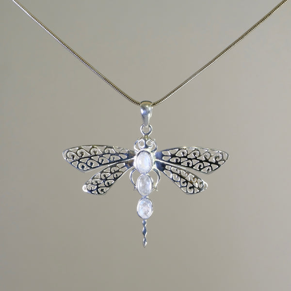 Silver and Moonstone Dragonfly Pendant.