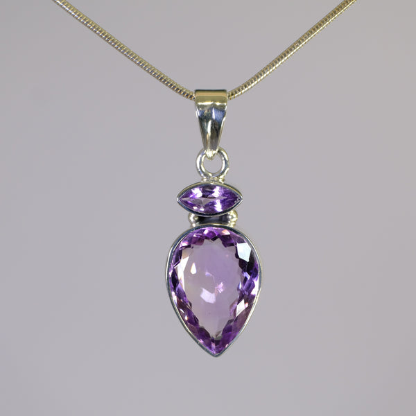 Larger Silver and Amethyst Pendant.
