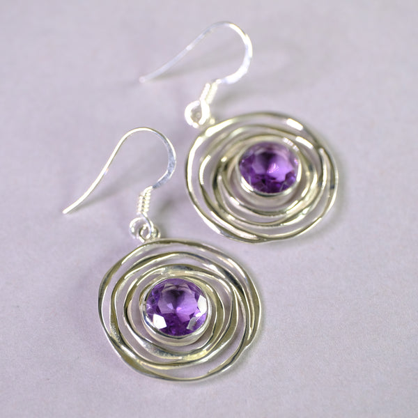 Silver Swirl and Amethyst Drop Earrings.
