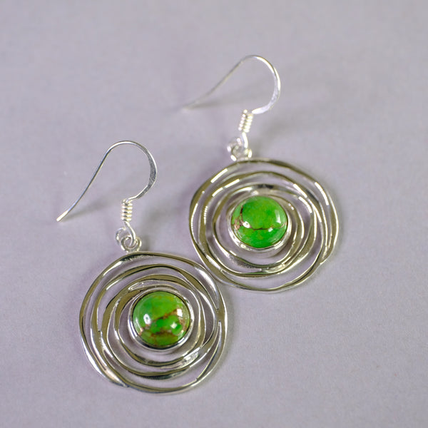 Silver Swirl and Green Mojave Turquoise Drop Earrings.