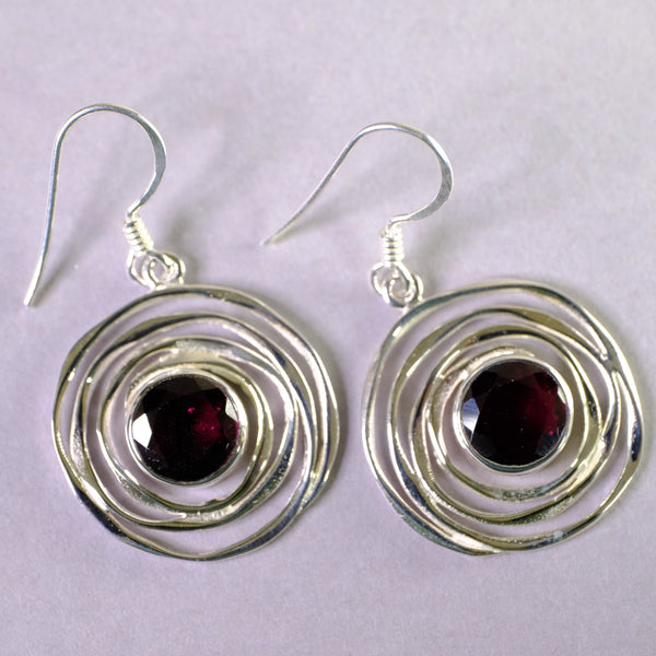 Silver Swirl and Garnet Drop Earrings.