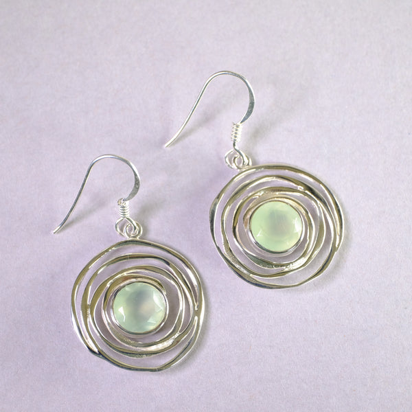 Silver Swirl and Prehnite Drop Earrings.