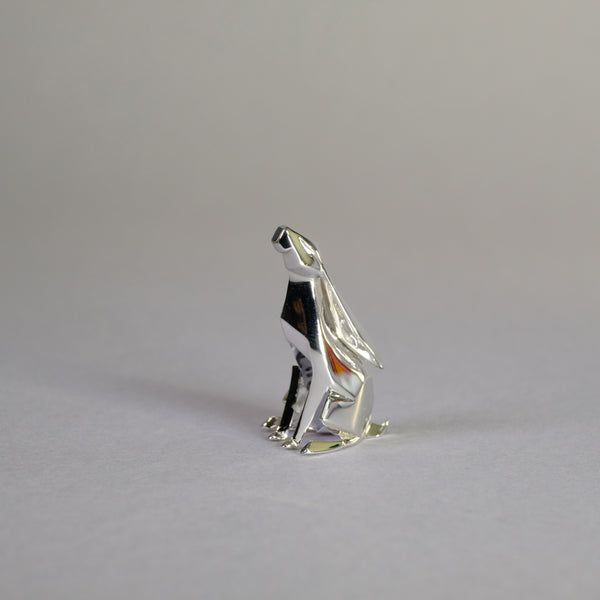 Sterling Silver Mini Moon Gazing Hare Sculpture by Nomi Design